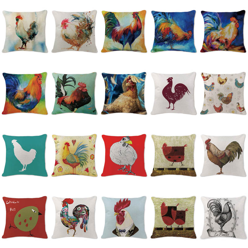 Aliexpress.com : Buy Colorful Chicken Art Cushion Cover