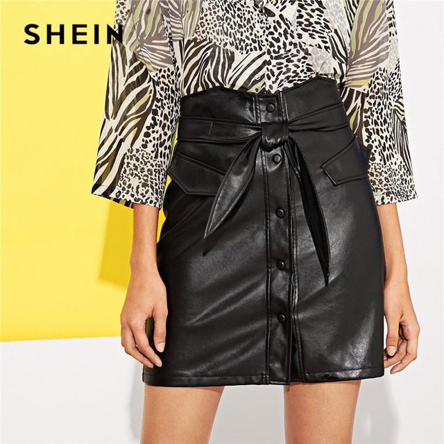 02d318053c SHEIN Single-Breasted Button Up Faux Leather Skirt With Belt Women Mini  Skirts Ladies Elegant High Waist Plain Sheath Bottoms
