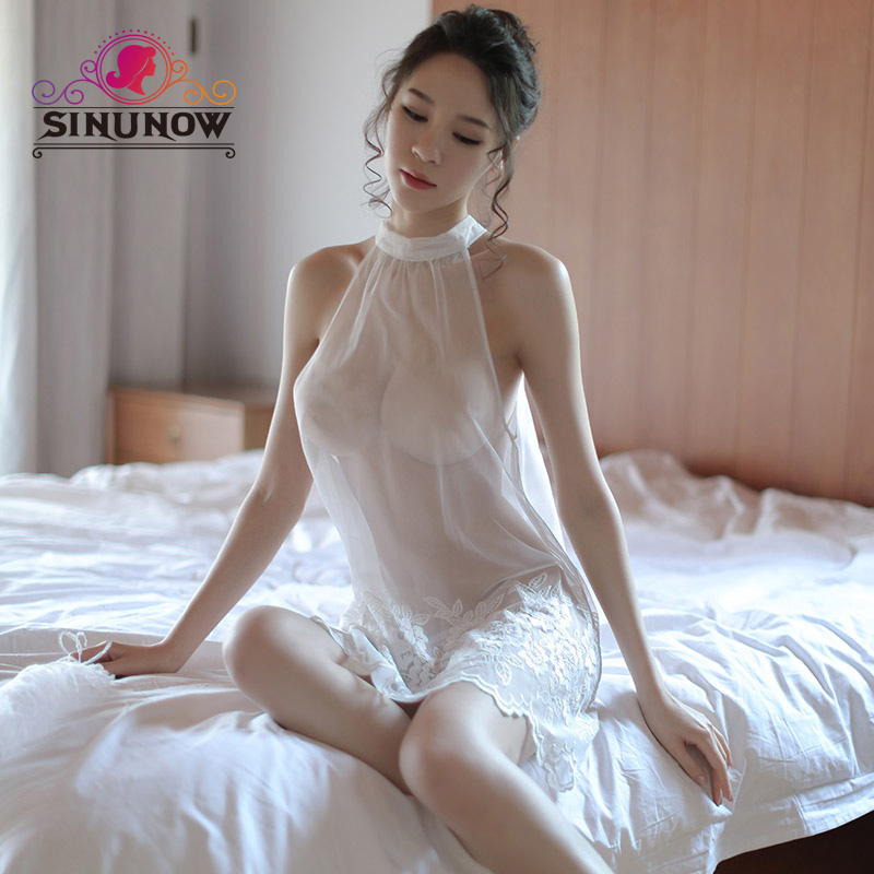 Summer  Lingerie Gauze Sexy Nightdress Ladies Perspective Lace Embroidered  Women Sleeveless Sexy Sleepwear  Nightgown