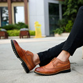 Fashion Great Men Oxfords Black Brown White Yellow PU Leather Leisure Flats Shoes Pointed Toe Carve Lacing Brogue Shoes