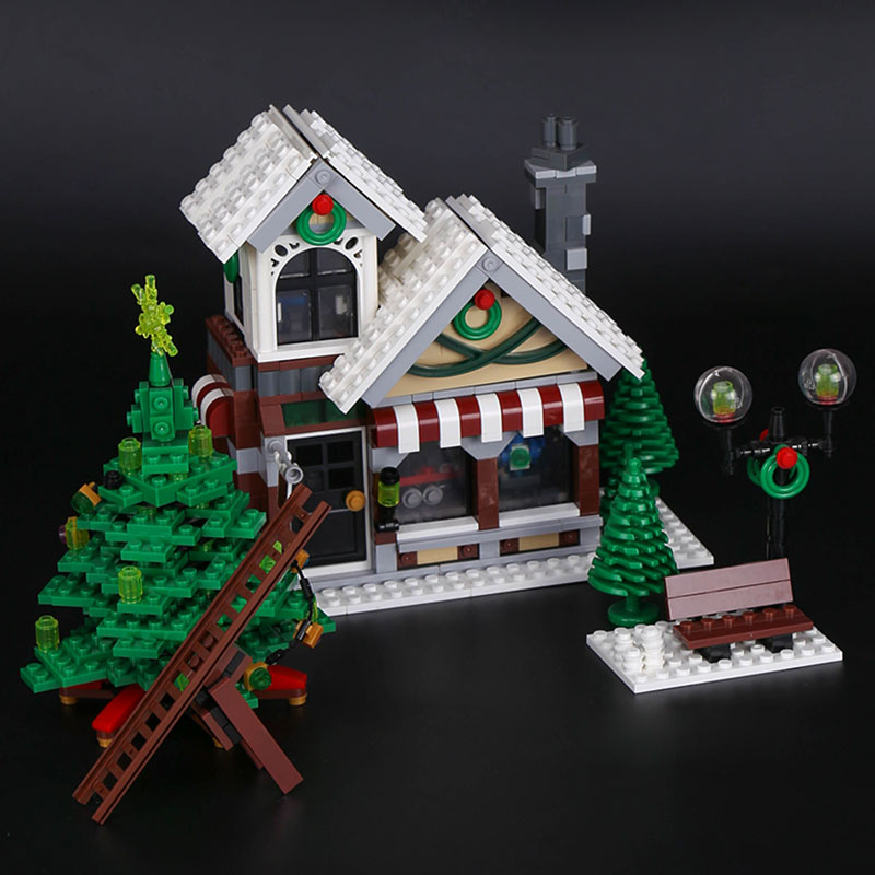 Lepin 36002 Creative Series The Winter Toy Shop Model LegoINGys 10249 Development Building Bricks Castle Toys as Kids Gift lepin 36002 1005pcs street view series winter toy store christmas model building blocks set bricks toys for children gift 10249