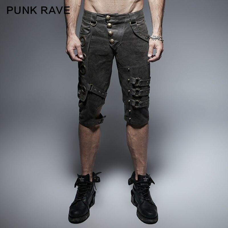 Punk Rave hommes pantalons Rock gothique mince hommes Shorts lourds métal Steampunk hommes Shorts Streetwear Hip Hop pantalon