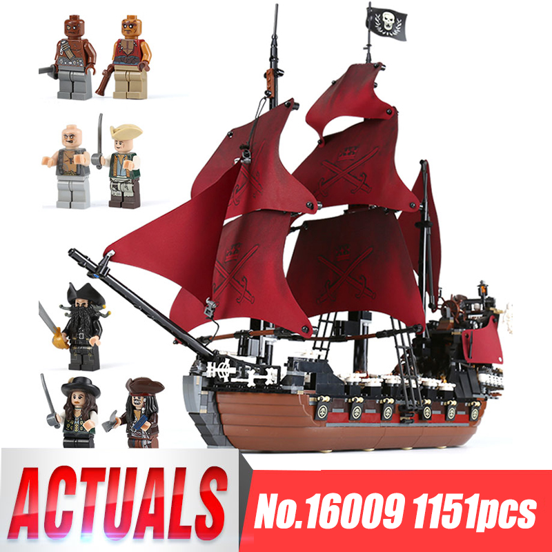 Lepin 16009 Blocks Queen Anne's Revenge Pirates Of The Caribbean Building Blocks Set Compatible With 4195 Children Gift 1151pcs 2017 new toy 16009 1151pcs pirates of the caribbean queen anne s reveage model building kit blocks brick toys