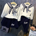 High Quality Fashion Baby Girls Baby Boys Clothing Sets Sailor Style Hoodies+pants 2pcs Autumn Winter Baby Kids Clothes Set 2016