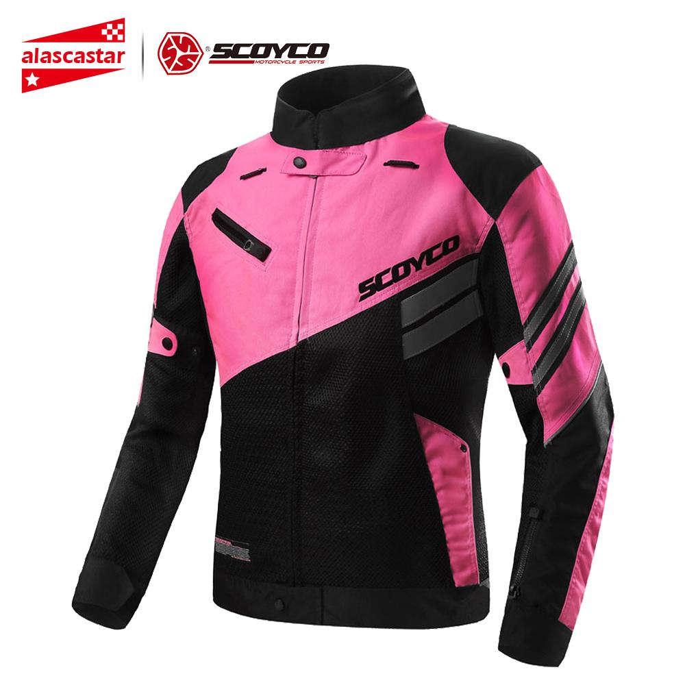SCOYCO Women's Motorcycle Jackets Motocross Riding Equipment Gear Chaqueta Moto Jacket Breathable Mesh Riding Jacket Motorcycle