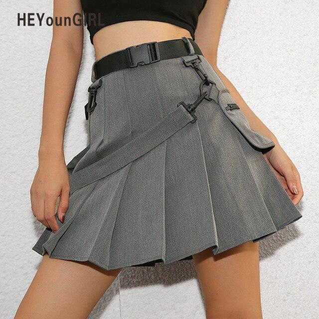 55162ba25 € 20.24 40% de DESCUENTO|HEYounGIRL Casual faldas cortas mujer otoño  coreano Harajuku Falda plisada Mini falda de cintura alta pantalones cortos  ...