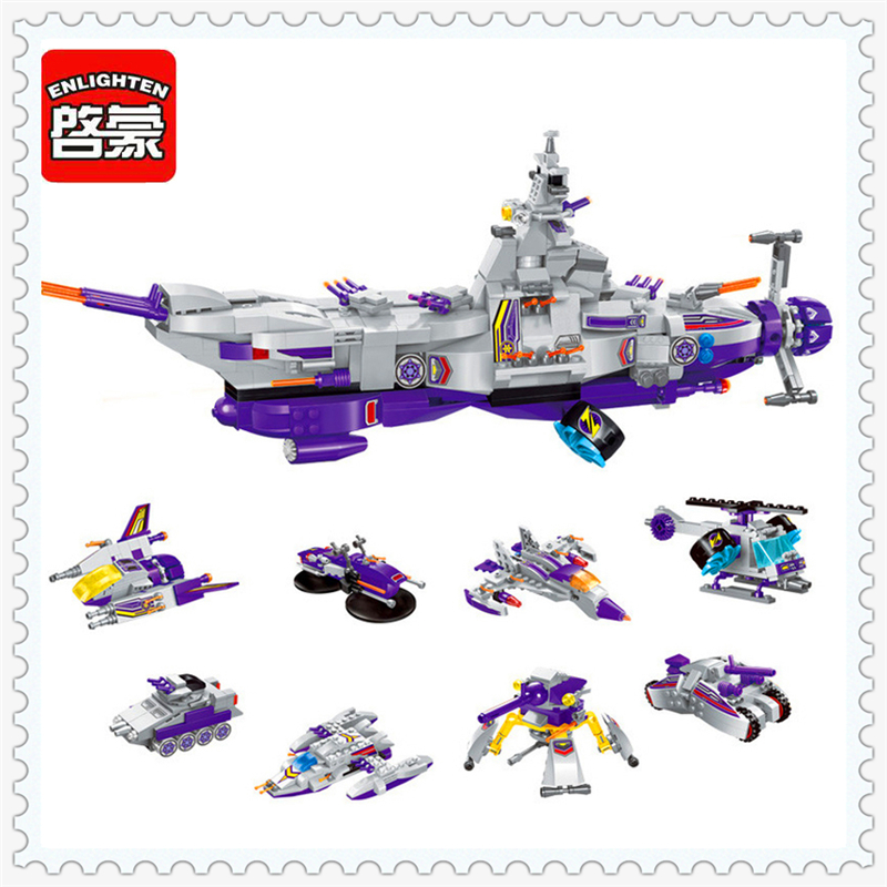 ENLIGHTEN 1402 8 in 1 Space War Warship Model Building Block Compatible Legoe 683Pcs DIY   Toys For Children toys in space