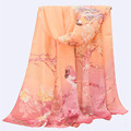 New Arrival 2017 Women Autumn Beautiful Gradient Pattern Print Soft Thin Chiffon Shawl Scarf 150*50 Rectangle Casual Scarves