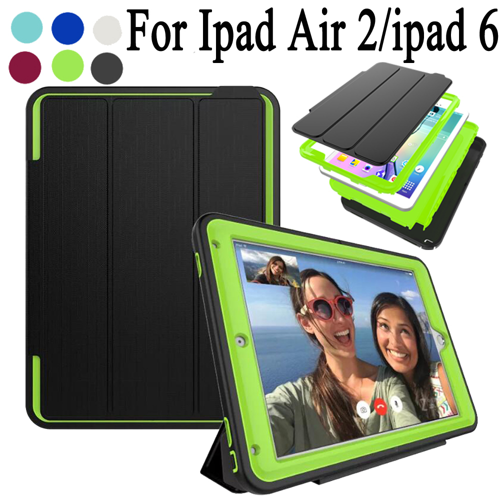 New 360 Full protection Case For ipad Air 2 / ipad 6 Kids Safe Shockproof Heavy Duty Silicon TPU Hard Cover kickstand
