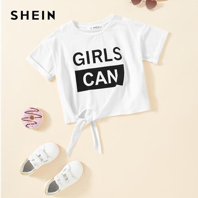 SHEIN Kiddie/однотонная белая футболка с буквенным принтом и бантом топы для девочек 2019 г., летние повседневные укороченные Детские футболки с короткими рукавами