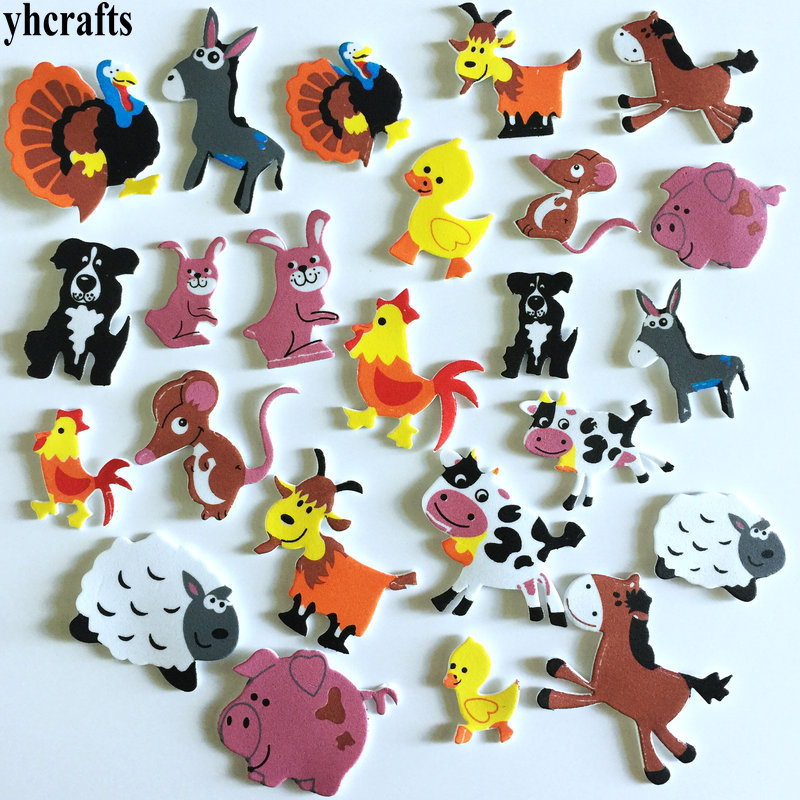 1 пакетов/лот, снежинка, рождественские наклейки из пены для раннего обучения, Обучающие поделки, diy игрушки, детская комната, орнамент, цветная обучающая креативная OEM - Цвет: 24PCS farm animals