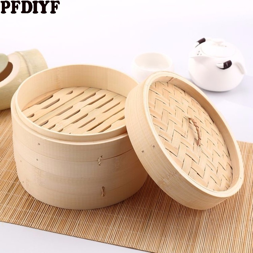 Durable Single Bamboo Steamer With Lid 13.5-24cm Chinese Kitchen Cookware Fish Rice Dim Sum Snack Basket Rice Pasta Cooker Set