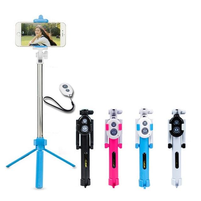 Universal Android/IOS teléfono plegable extensible Selfie Stick Auto Selfie Stick trípode + Clip soporte + control remoto Bluetooth conjunto
