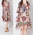 Nuevo verano suelta más la impresión de la manera exquisita de las mujeres irregulares dobladillo de una sola pieza dress casual vestidos de algodón de lino