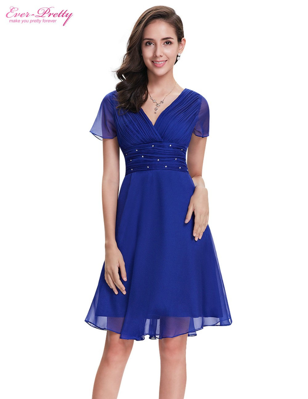 Short Sleeve V Neck Ruched Bust Chiffon Party Dress 9