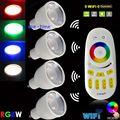 4 шт. Mi. свет 4 Вт GU10 RGBW или RGBWW светодиодный SpotLight лампы Wi-Fi Совместимые AC85-265V + 4-Zone 2,4 г RF Беспроводной Сенсорный пульт