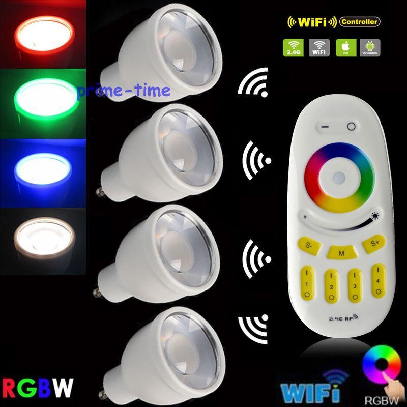 4 pièces Mi. lumière 4 W GU10 RGBW ou RGBWW LED lampe ampoule projecteur WiFi Compatible AC85-265V + 4-Zone 2.4G RF télécommande tactile sans fil