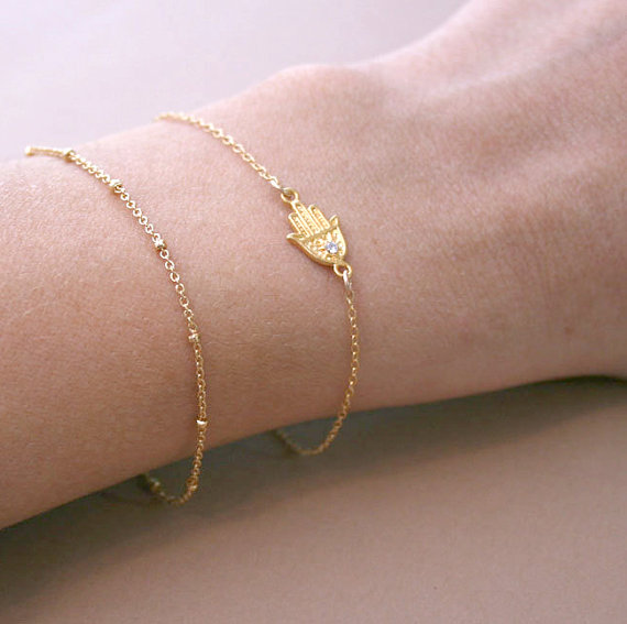 Золотая хамса браслет