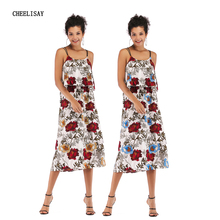 2019 Summer Women Print Dress Party Beach Spaghetti Strap Dresses Ruffles Boho Long Dresses Plus Size butterfly print spaghetti strap plus size flare dress