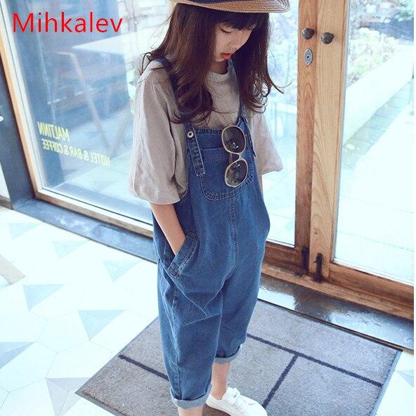 Mihkalev 2017 новые осенние джинсовые для девочек комбинезоны для девочек джинсы комбинезон модные детские штаны для отдыха детские комбинезоны наряды
