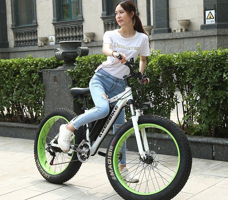 Chegada nova Fat Tire 21 velocidades 36 V 350 W 8Ah ebike poderosa Bateria De Lítio Bicicleta Elétrica Com liga de alumínio quadro