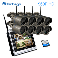 Techage 8CH 960P Wireless NVR Kit Wifi CCTV System 1 3MP HD Outdoor IP Camera Security