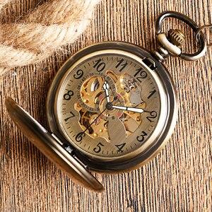 Image 1 - Kendini rüzgar cep saati bakır moda bronz kolye pürüzsüz Retro İskelet Unisex otomatik mekanik şık şükran hediye