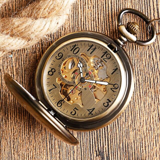 Kendini rüzgar cep saati bakır moda bronz kolye pürüzsüz Retro İskelet Unisex otomatik mekanik şık şükran hediye