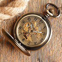 Self Wind Pocket Watch Copper Fashion Bronze Pendant Smooth Retro Skeleton Unisex Automatic Mechanical Stylish Thanksgiving