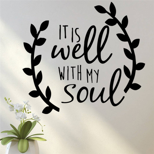 It Is Well With My Soul Quotes Olive Branch Tree Wall Sticker