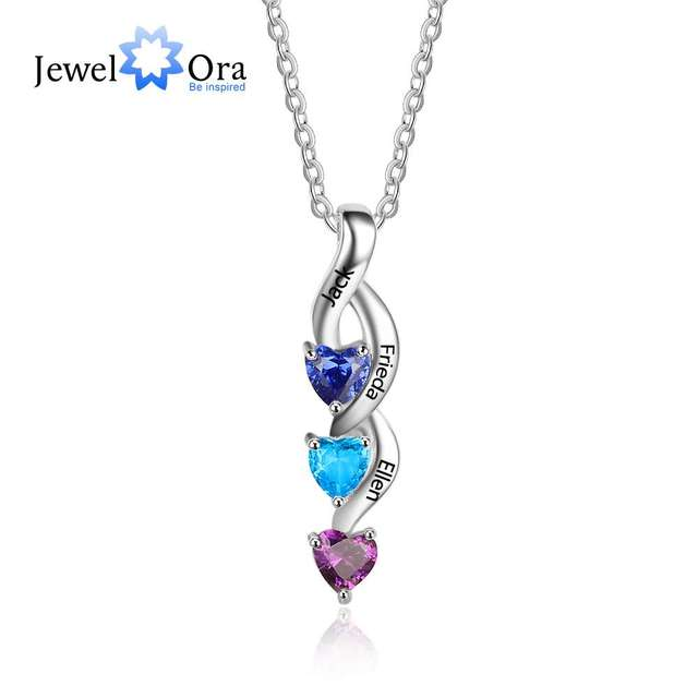 Gift For Family 3 Heart Personalized 12 Birthstone Engrave Name Pendant Necklace 925 Sterling Silver Jewelry (JewelOra NE101992)