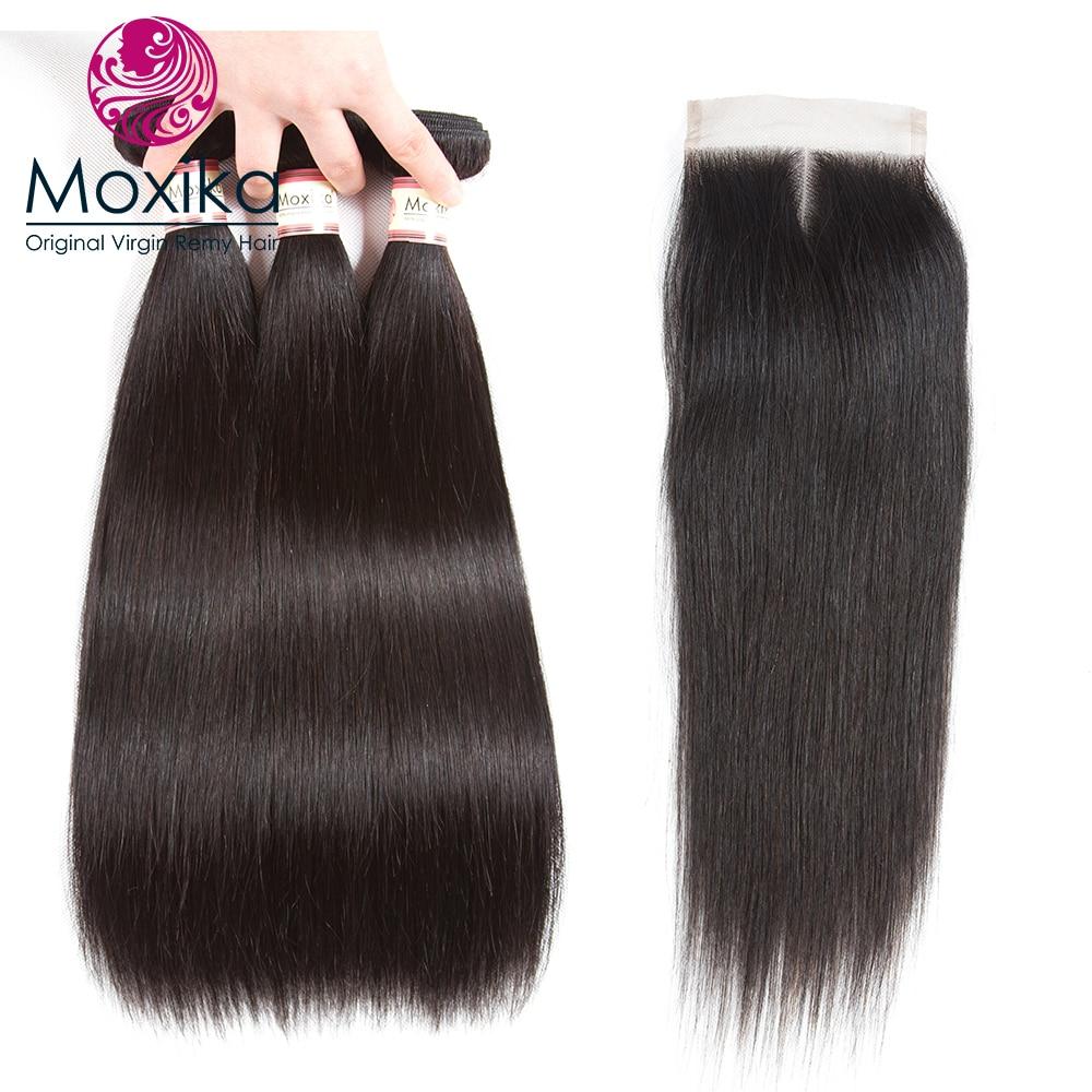 Moxika волос 100% Малайзии прямой человеческих волос 3 шт. с закрытием 4 шт./лот Реми Прямо Кружева закрытия с 3 Связки волос
