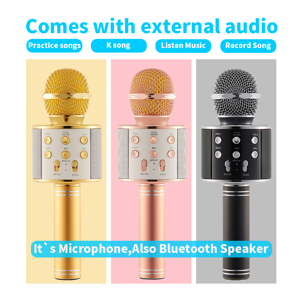 WS858 Handheld Bluetooth Wireless Condenser Magic Karaoke Microphone Mobile Phone Player MIC Speaker Record Music KTV Microphone