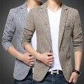 Vintage de lujo traje blaser chaqueta para hombre estilo británico masculino delgado Terno masculino Mens Formal Blazer Caqui Gris 3XL 4XL 5XL