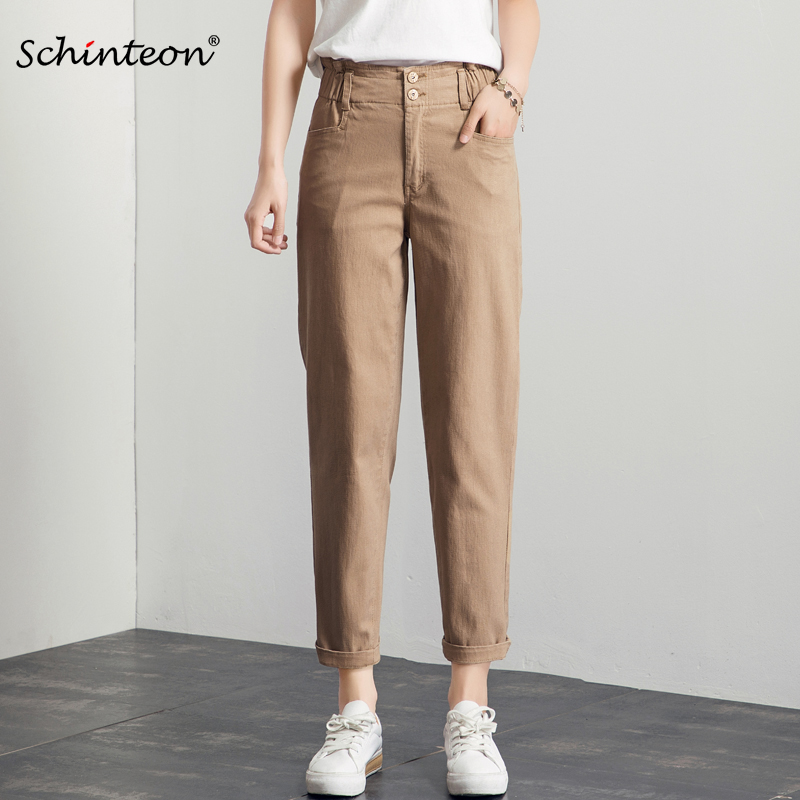 Schinteon New Arrival Beige Denim Pants Women High Waist Ruffles Casual Straight Loose Ankle-Length Pants Plus Size Fashion