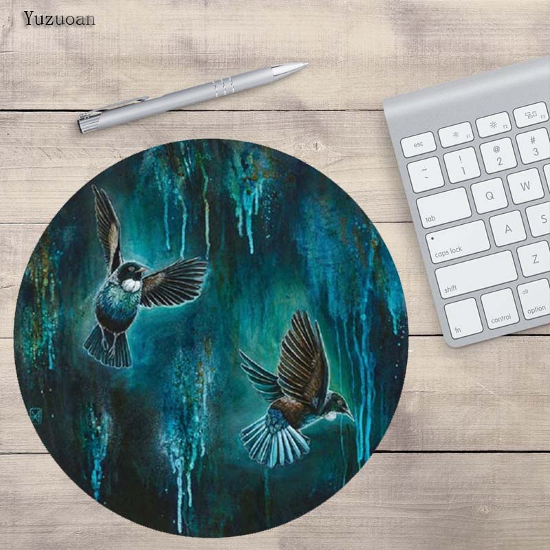 Yuzuoan Dancing Bird Latest Top Selling Printing Non-skid Cloth&rubber Round Optional Sizes Mat For Computer Gaming Mouse Pads