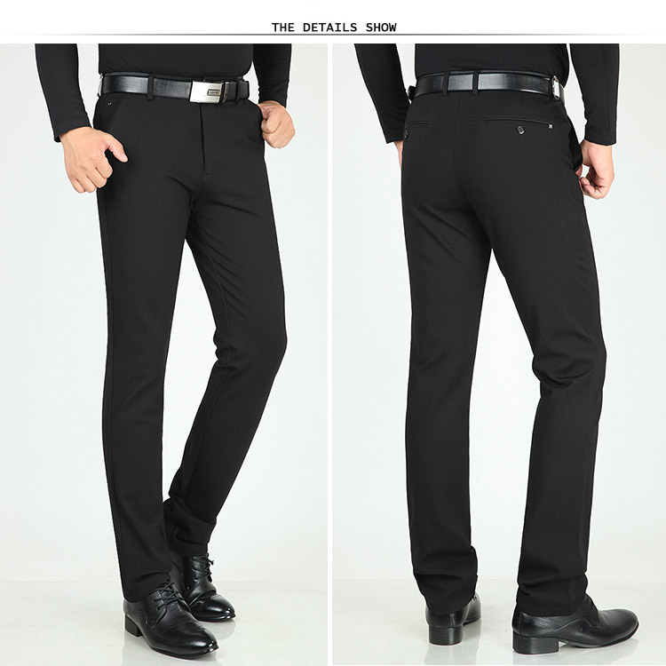 HTB1RLymX42rK1RkSnhJq6ykdpXai Classic Pants Men Suit Dress Casual Pants Men Straight Fit Business Work Office Formal Pants Big Size Autumn Men's Trousers Male