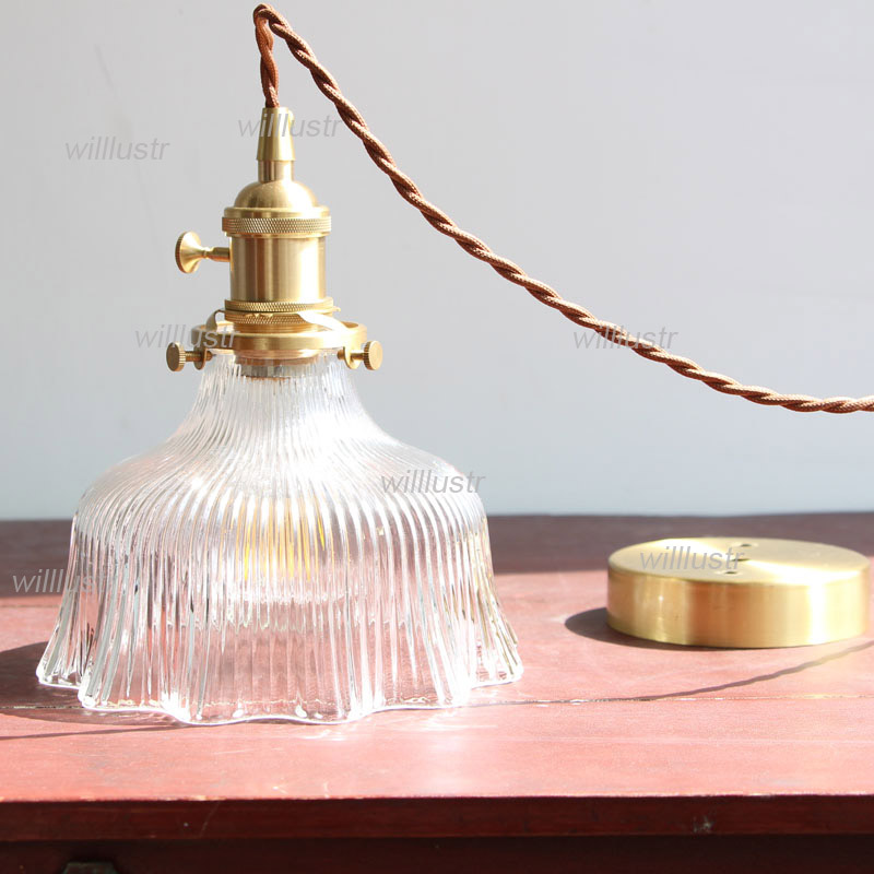 Ruffled Skirt Ribbed Clear Glass Pendant Light Restaurant Hall Hotel Cafe Living Room Japan Style Brass Suspension Hanging LampRuffled Skirt Ribbed Clear Glass Pendant Light Restaurant Hall Hotel Cafe Living Room Japan Style Brass Suspension Hanging Lamp