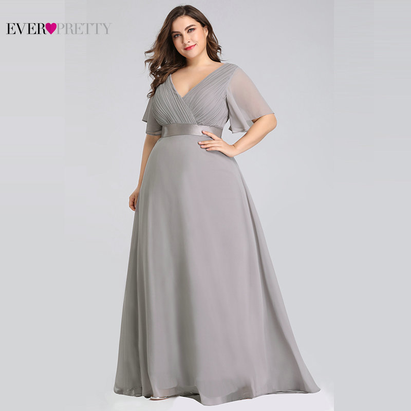 Image 5 - Plus Size Formal Evening Dresses Ever Pretty Elegant Burgundy Glamorous Ruffles Padded Chiffon Evening Gowns with Short Sleeves-in Evening Dresses from Weddings & Events