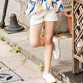 Chica Pantalones Cortos Con Dobladillo de La Pierna Pantalones de Algodón Pantalones de Los Niños del Verano Pantalones Cortos de Cintura Elástica Para Las Niñas Ropa de La Muchacha