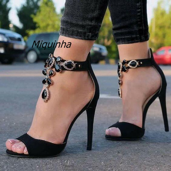 2adc4bc43c64 Black Suede Sandals Peep Toe Thin High Heels Chic Women Ankle-wrap Crystal  Dress Shoes Sexy Nightclub Stiletto Heel Sandals