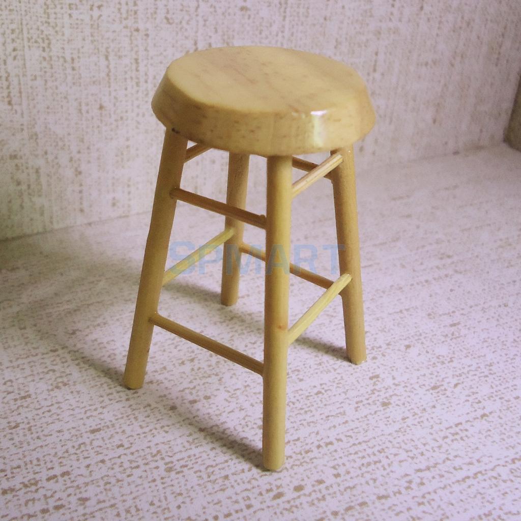 1/12 Scale Dollhouse Miniatures Furniture High Chair Bar Pub Stool Furniture Decoration