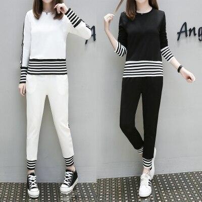 separation shoes 1293a c5c96 S-4XL Women ropa deportiva negro blanco manga larga algodón Delgado rayas  verano casual tracksuits