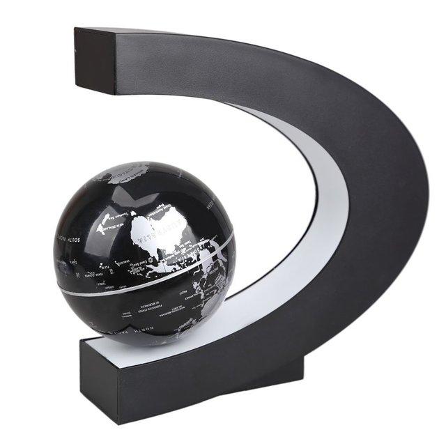 JFBL Única Durável Anti-Gravidade Levitando Globo Terrestre com luzes LED Coloridas Prata/Preto