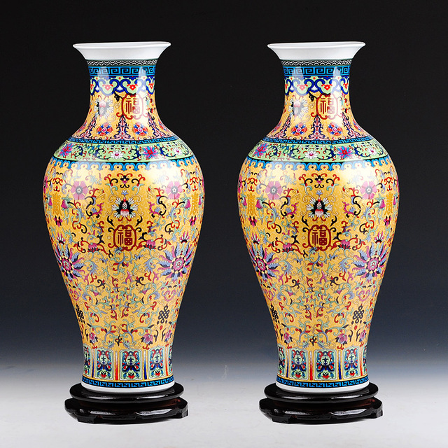 Luxury Jingdezhen Antique Longevity Porcelain Enamel Floor Vase