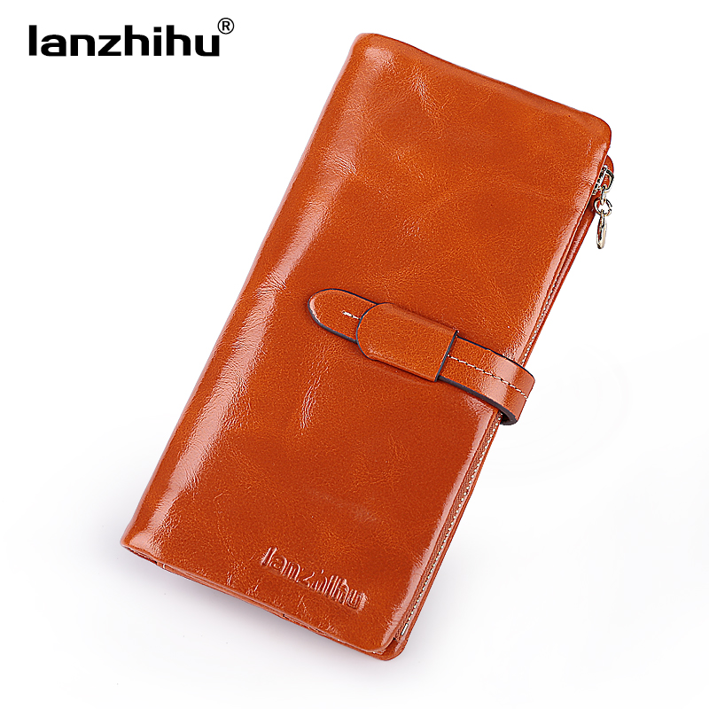 2017 NEW Genuine Leather Wallet for Women Long Fashion Women's Trifold Zipper Wallets Luxury Brand Clutch Vintage Leather Purse new fashion lady hand wallet brand luxury party wallets genuine leather women wallet and purse zipper cards vintage carteras