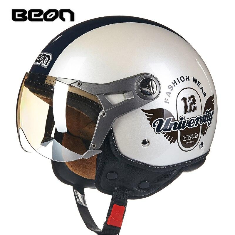 BEON Casque Moto Vintage visage ouvert demi visage Casque rétro Motobike Motocross course Casque Casco Capacete Moto