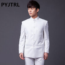 PYJTRL Brand Male Fashion Two-piece Slim Fit Suits Classic White Black Gray Navy Blue Chinese Tunic Suit Wedding Groom Tuxedo(China)