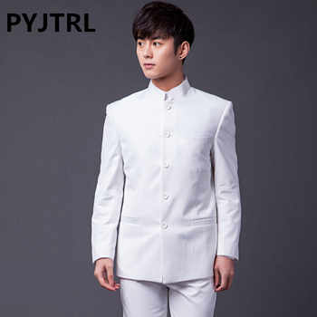 PYJTRL Brand Male Fashion Two-piece Slim Fit Suits Classic White Black Gray Navy Blue Chinese Tunic Suit Wedding Groom Tuxedo - DISCOUNT ITEM  46% OFF All Category