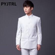PYJTRL marka erkek moda iki parçalı Slim Fit takım elbise klasik beyaz siyah gri lacivert çin tunik takım elbise düğün damat smokin